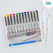 Cis, Caneta Marcador Cis Graf  Brush Fine - 12 cores