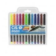Cis, Kit Caneta Cis Aquarelavel Brush - 12 cores