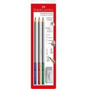 Lápis de Escrever Faber Castell Graphicolor - 3 cores + borracha
