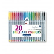 Staedtler, Caneta Triplus Fineliner Brilliant Colours - 20 cores