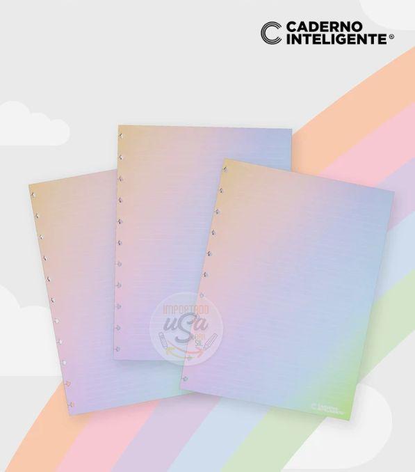 Caderno Inteligente - Refil Pautado Arco Iris Rainbow linha branca