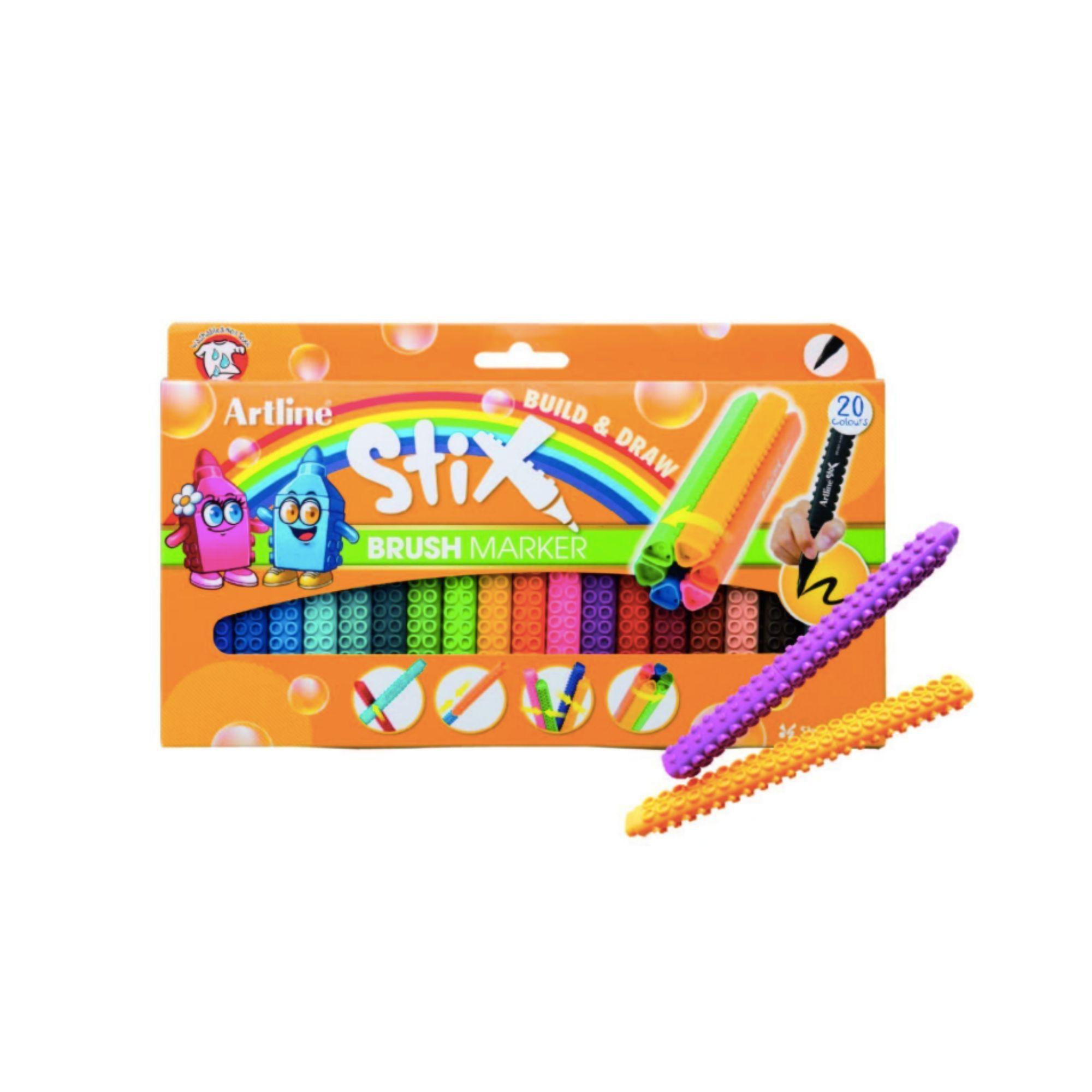 Caneta Artline Stix, Brush Marker, 20 cores