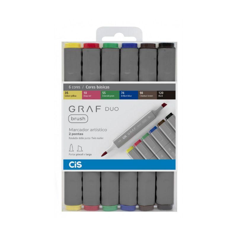 Caneta Cis Graf Duo Brush com 6 - Básicas