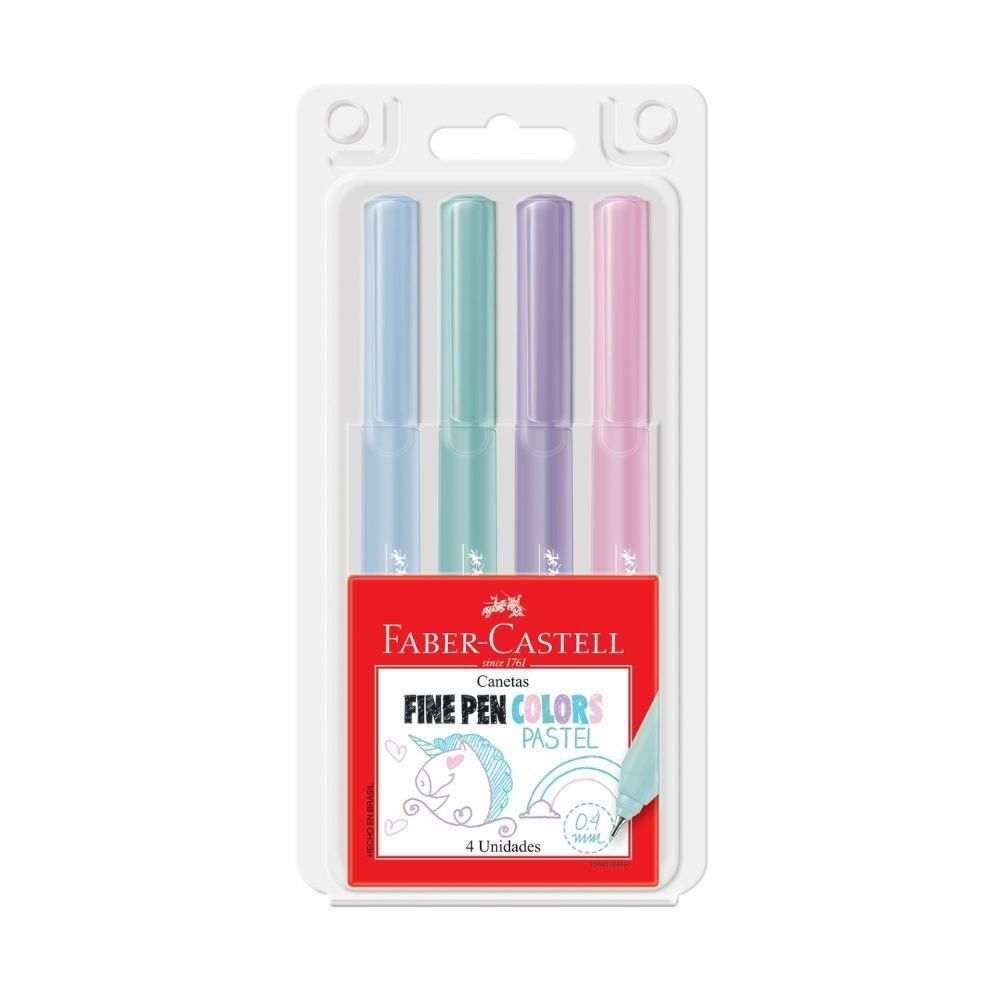 Caneta Fine Pen Pastel Faber Castell - 4 cores