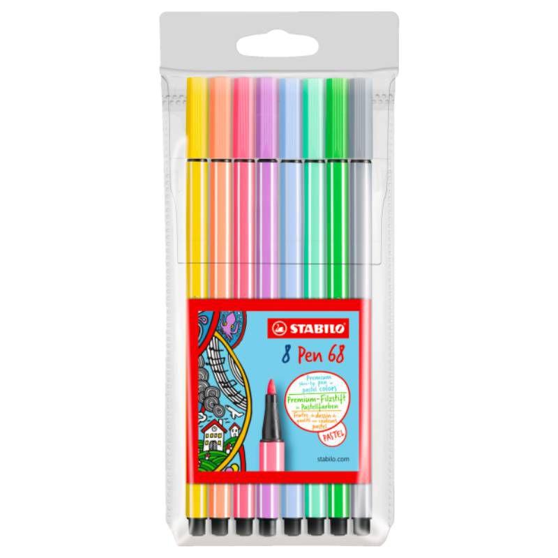 Caneta Stabilo Hidrográfica Pen 68 - 8 cores - Pastel