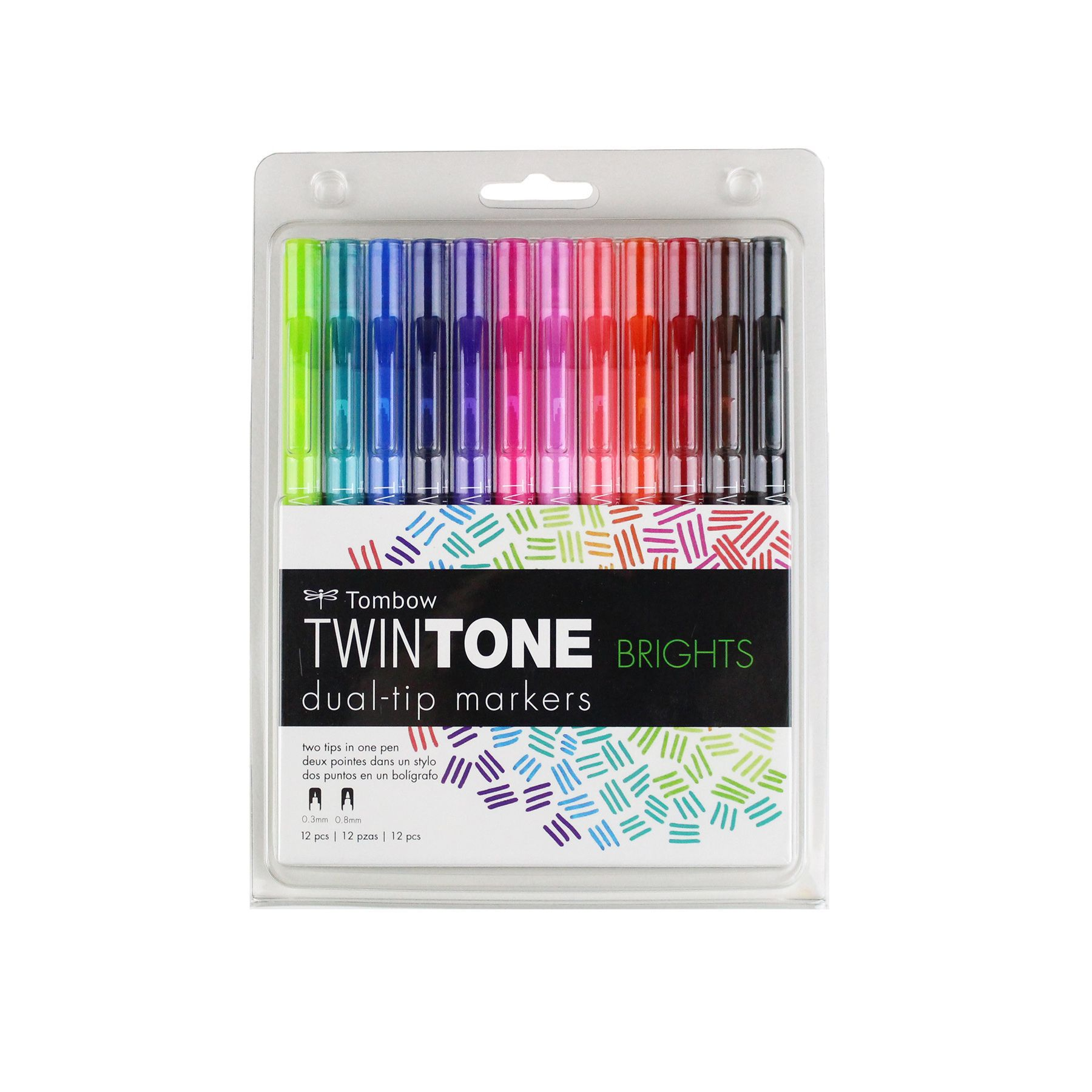 Caneta Tombow TwinTone Bright- 12 cores