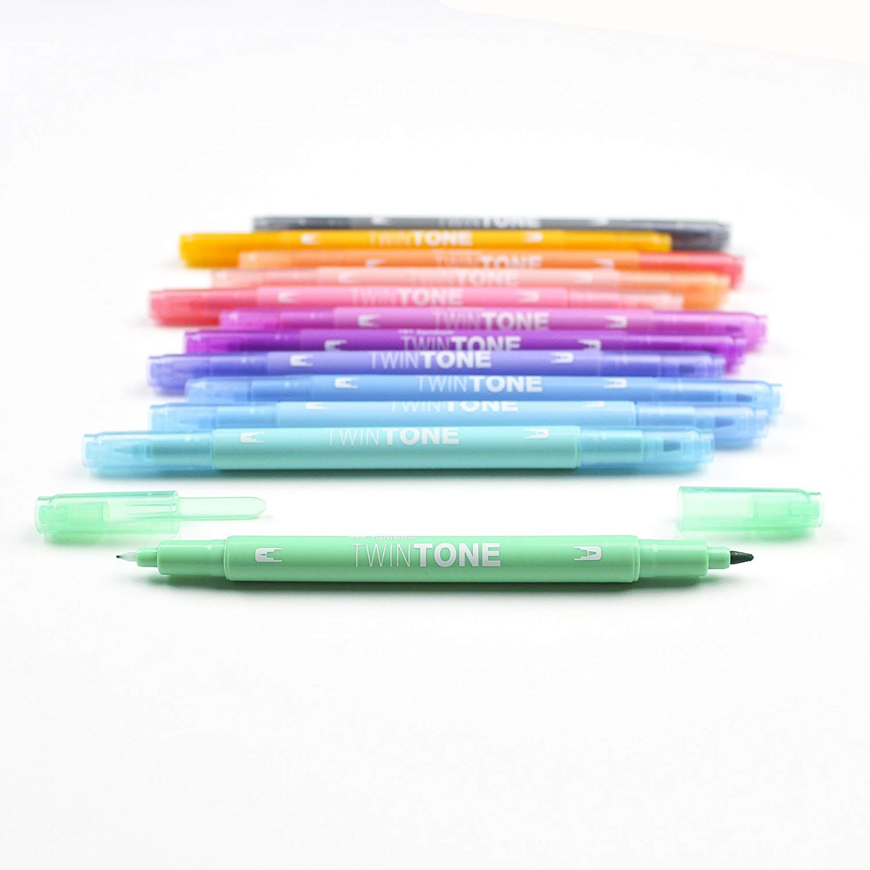 Caneta Tombow TwinTone  Pastel- 12 cores