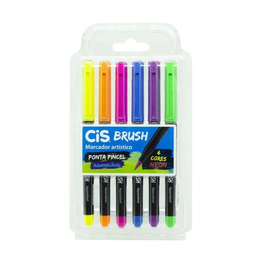 CIS, Marcador Artístico aquarelavel brush noen - 6 cores