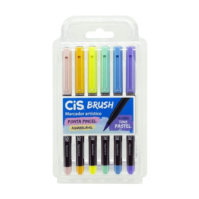 CIS, Marcador Artístico aquarelavel brush pastel - 6 cores