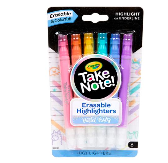 Crayola, Caneta Marca Texto Apagável, 6 cores - Tons Pastel