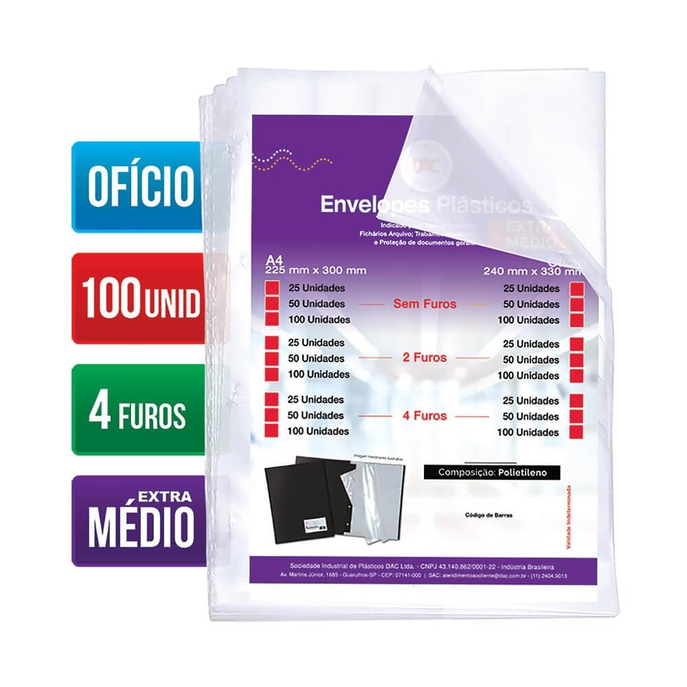 DAC, Envelope Plástico Ofício - Extra Médio - 4 Furos