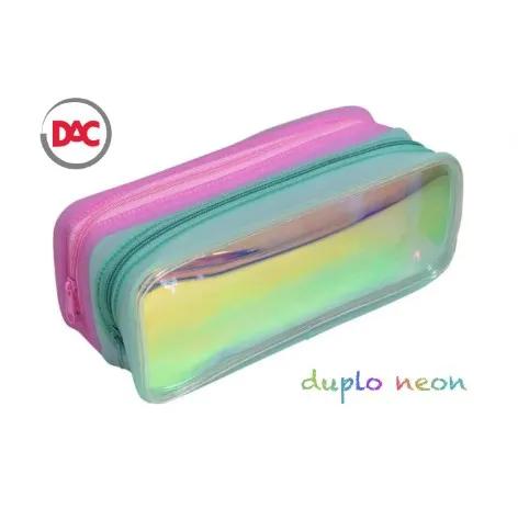 DAC, Estojo escolar Duplo holográfico em PVC  - Neon