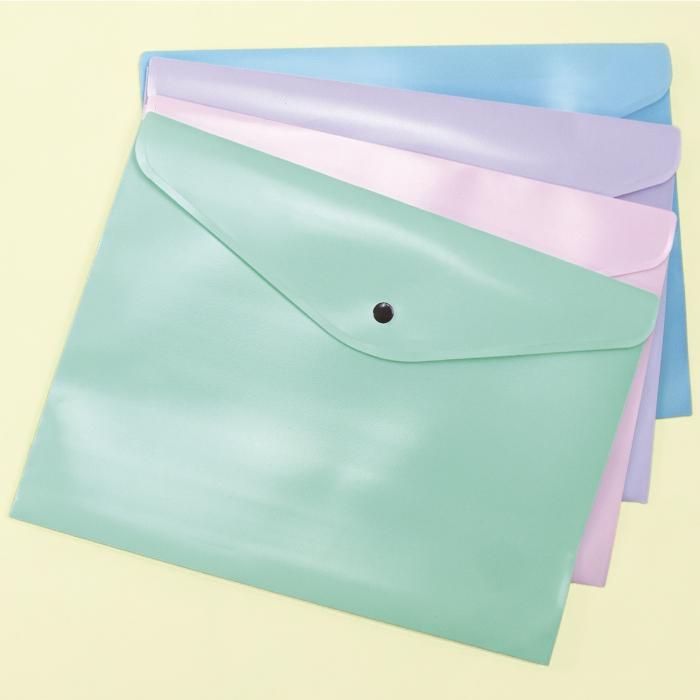 Dello, Envelope Plastico Com Botão A4 Serena - Tons Pastel