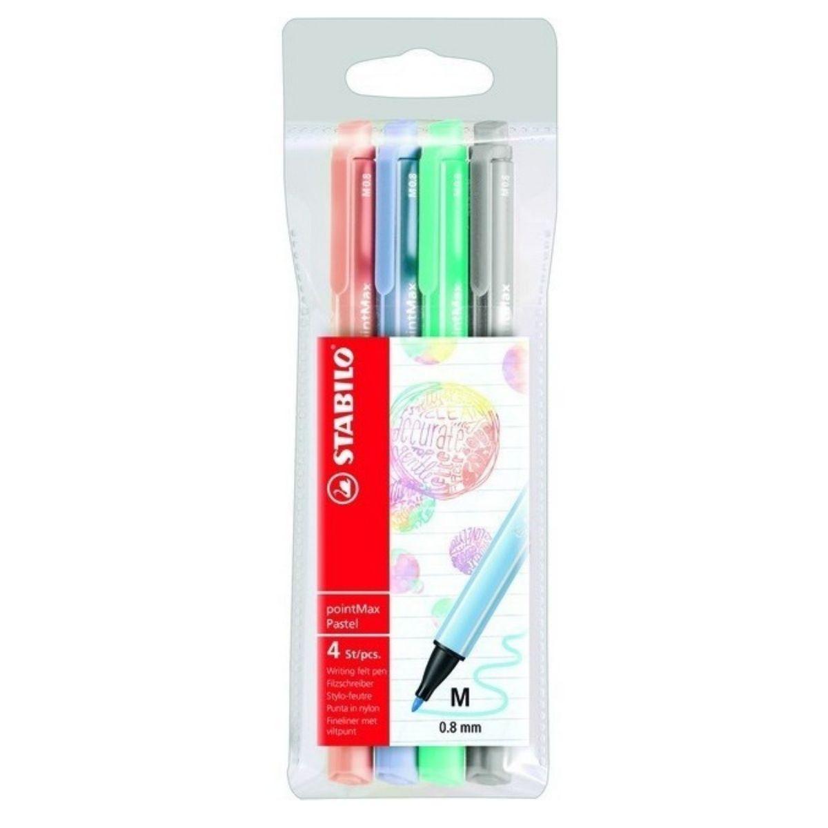 Estojo Stabilo Pointmax Pastel - 4 cores