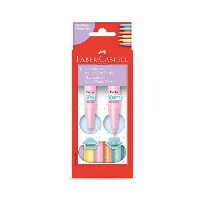 Faber Castell, Canetinha Vai e Vem Pastel, 6 cores