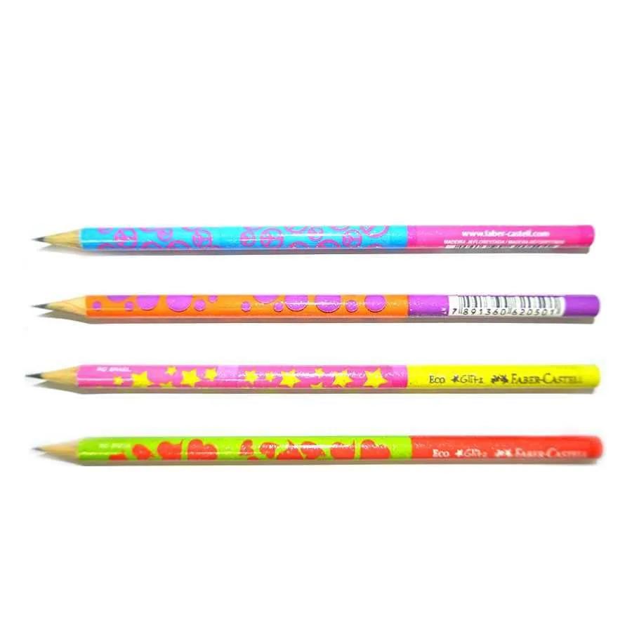 Faber Castell, Lápis Preto Ecolápis Grafite Glitz - 4 estampas