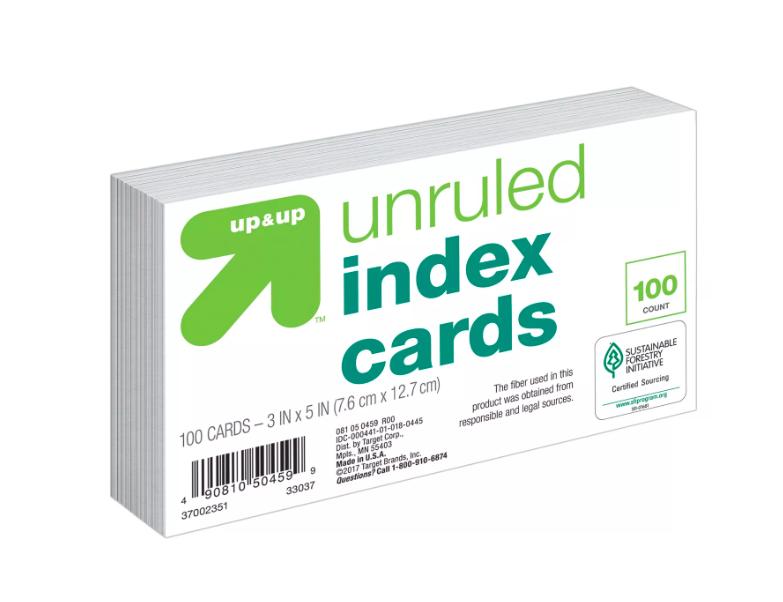 Up&Up - Ficha pautada  branca - 100 cards - 7x12