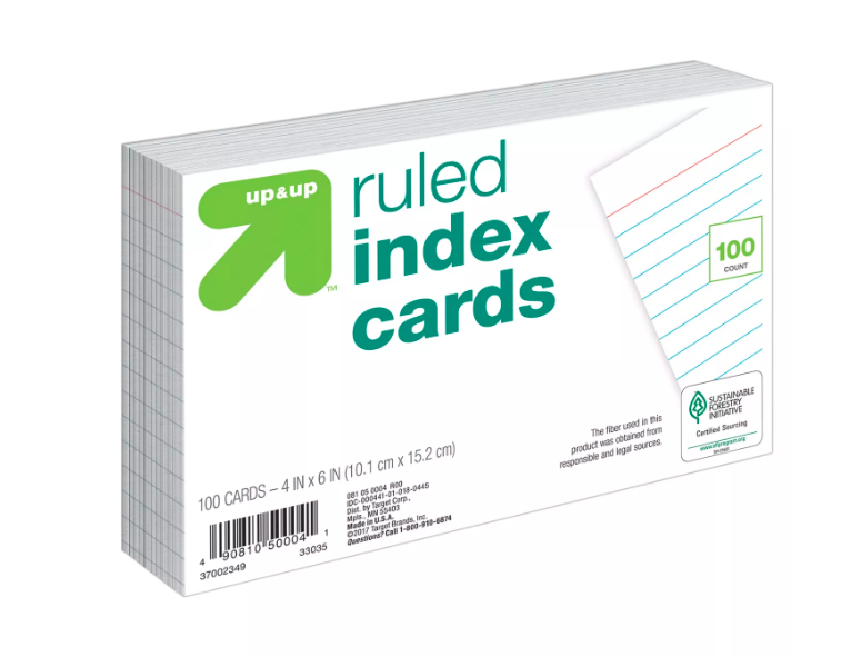 Up&Up - Ficha pautada branca - 100 cards - 10x15