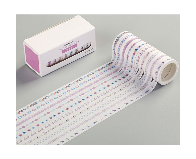 Kit Washi Tape estampada - 10 peças