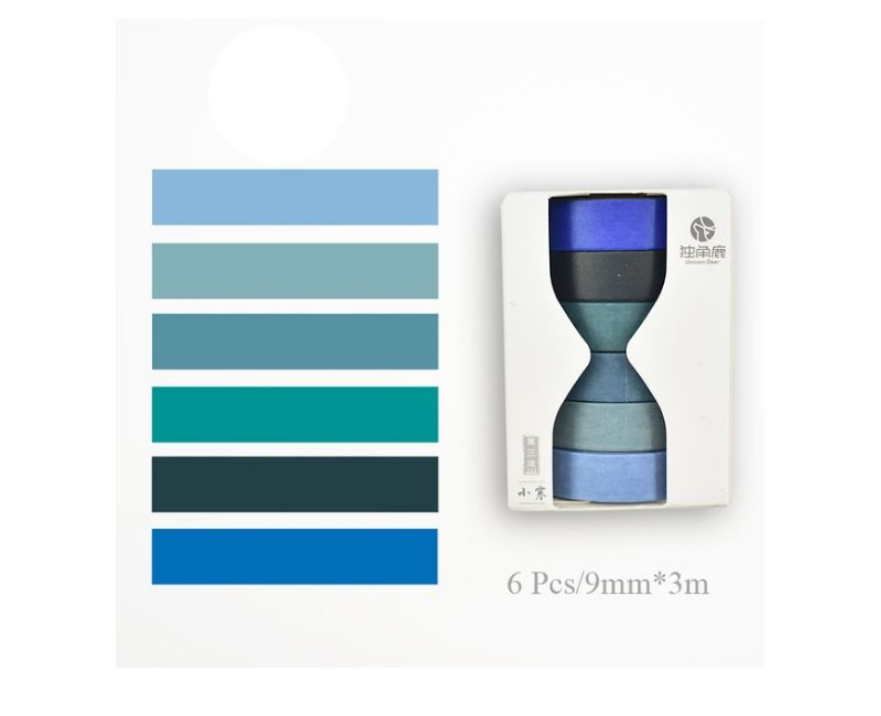 Kit Washi Tape Solid Colors - 6 peças