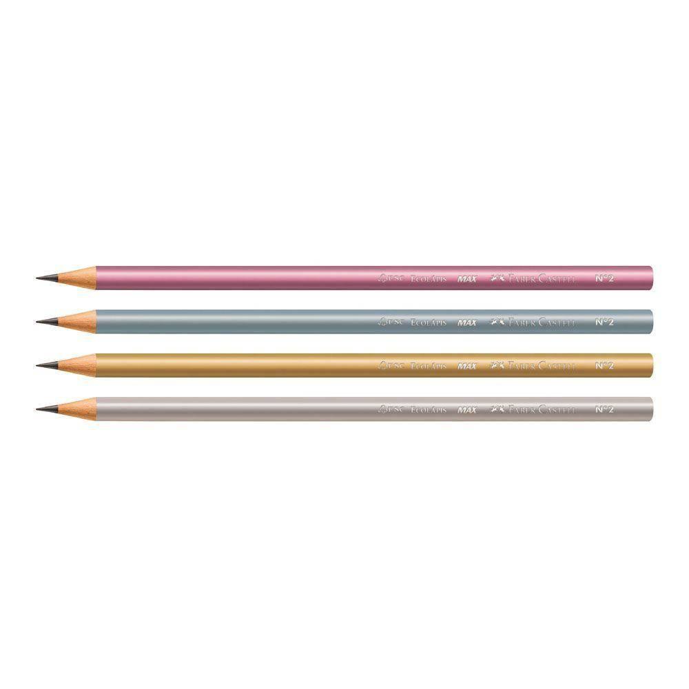 Lápis preto Faber Castell - corpo metalizado,  4 cores