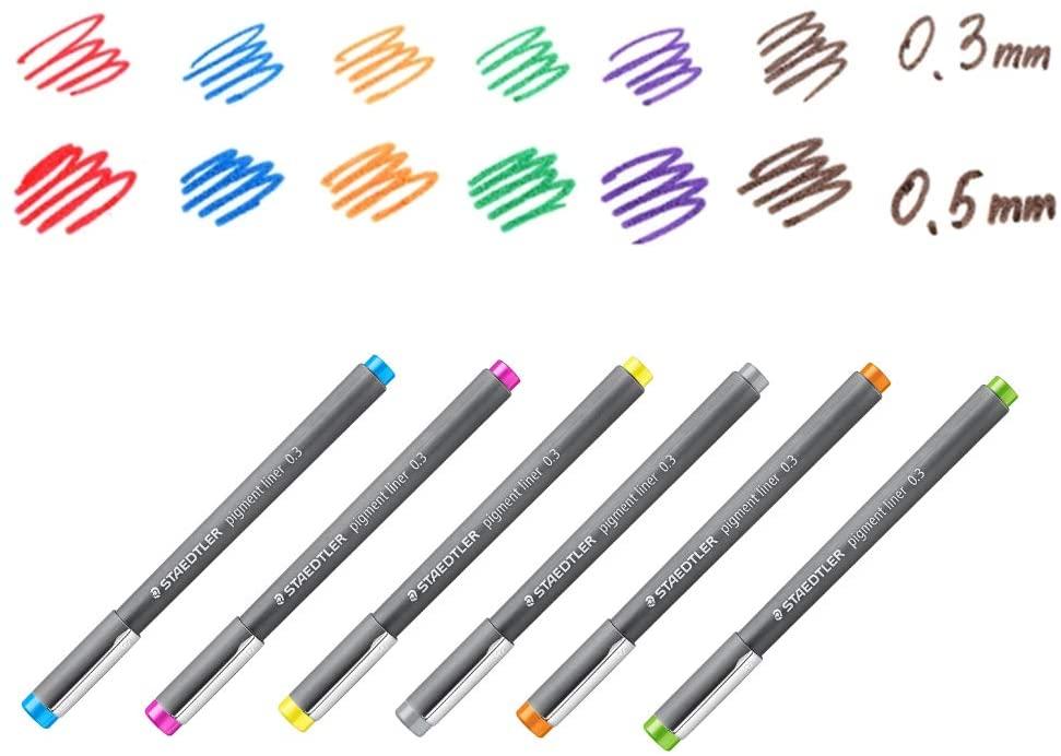 Staedtler, Caneta Técnica Staedtler Pigment Liner  - 6 Cores