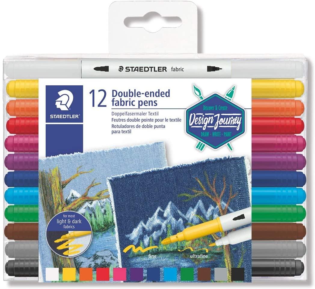 Staedtler, Canetas para tecido de ponta dupla  - 12 cores
