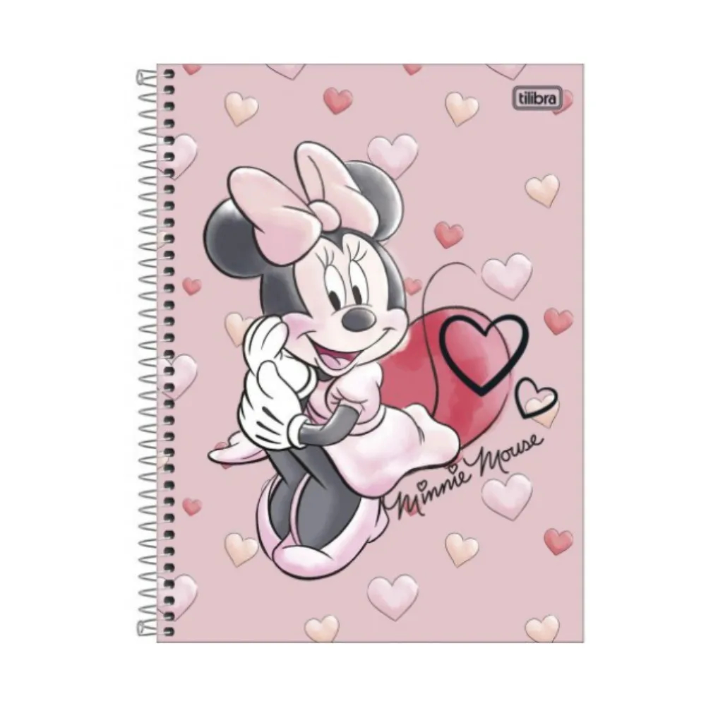 Tilibra, Caderno Espiral Capa Dura Universitário  Minnie Light