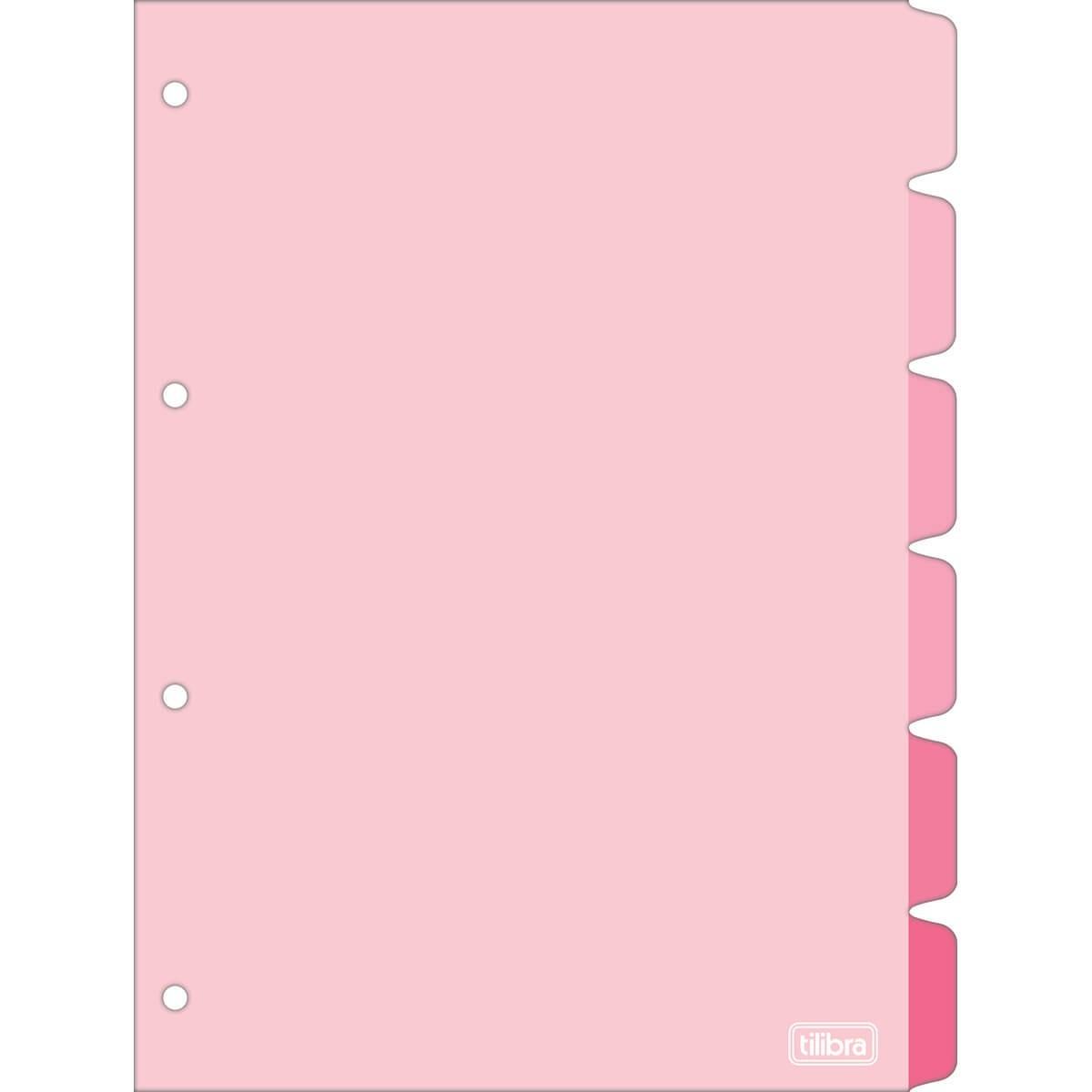 Tilibra, Divisória caderno argolado fichário  Rosa A4 universitário 6 peças