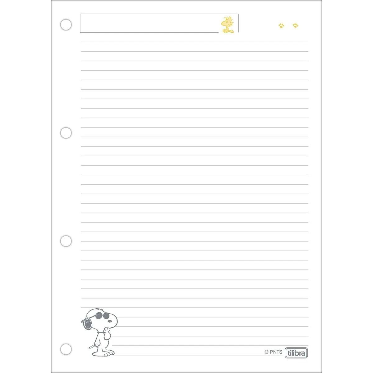 Tilibra, Refil folha fichário Universitário Snoopy - 80 Folhas