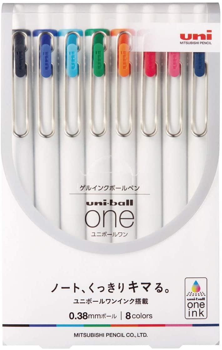 Uni-Ball, Caneta esferográfica gel One 0.38mm  - 8 cores
