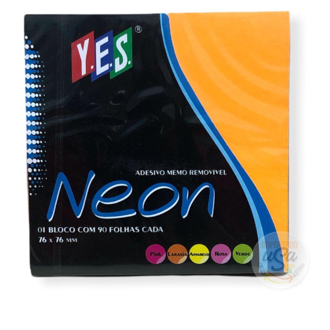 Yes, Bloco Adesivo Memo Removível - neon