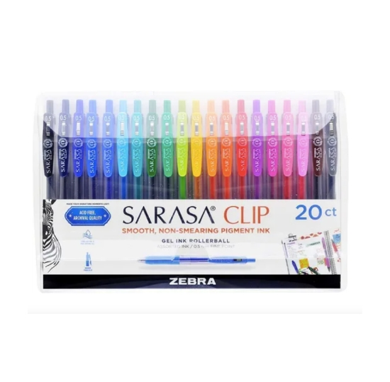Zebra - Caneta Gel Sarasa Clip 0.5 - Pack com 20 cores