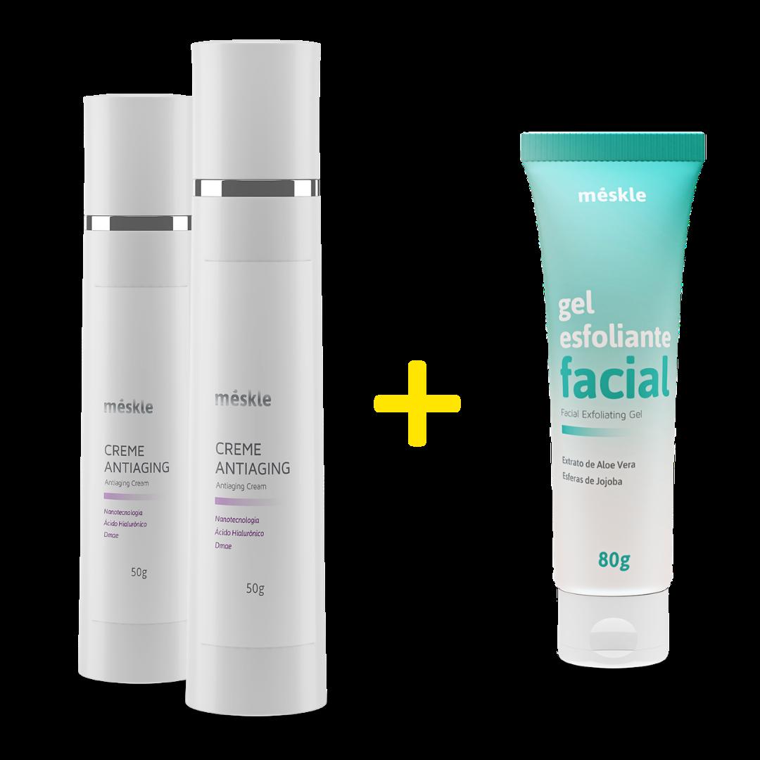 Compre 2 Cremes Antiaging Ganhe 1 Gel Esfoliante Facial Méskle