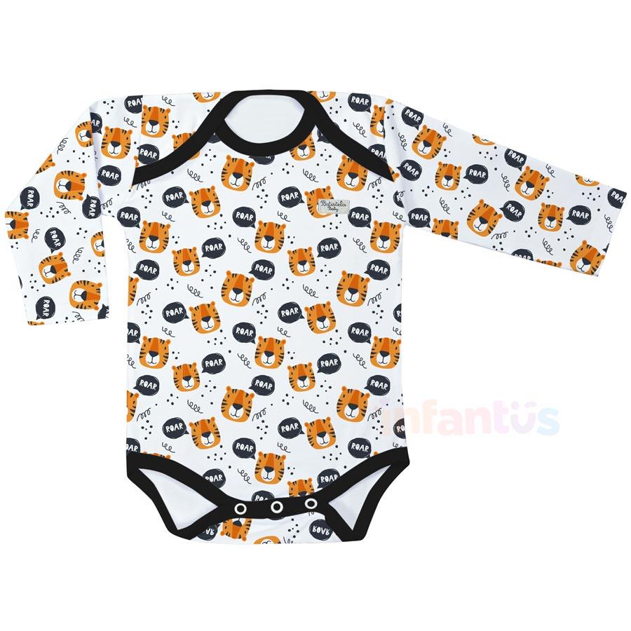Body Estampado Manga Longa Tigre - Batistela Baby
