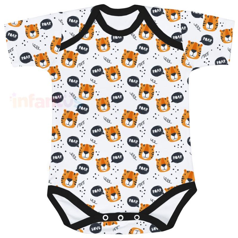 Body Estampado Manga Curta Tigres - Batistela Baby