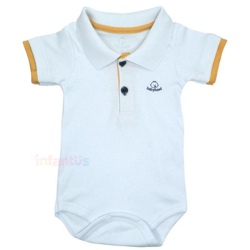 Body Manga Curta Liso Branco - Babyhood