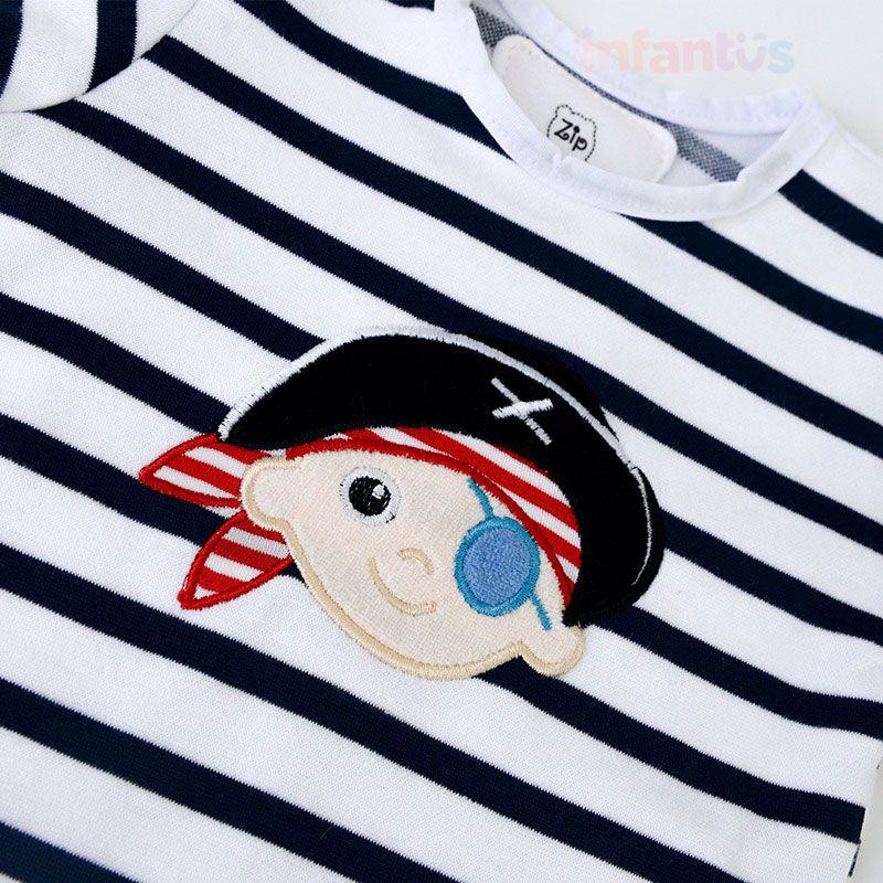 Body Pirata Listras Marinho - Zip Toys