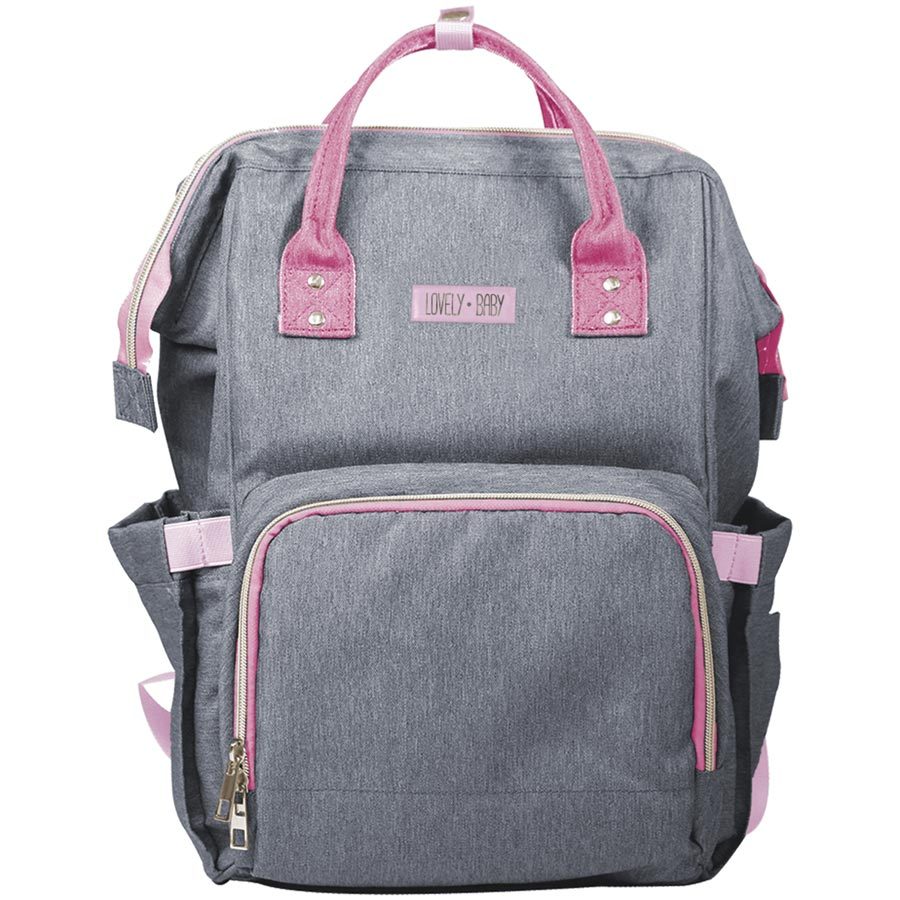 Bolsa Maternidade Cinza com Rosa - Unik