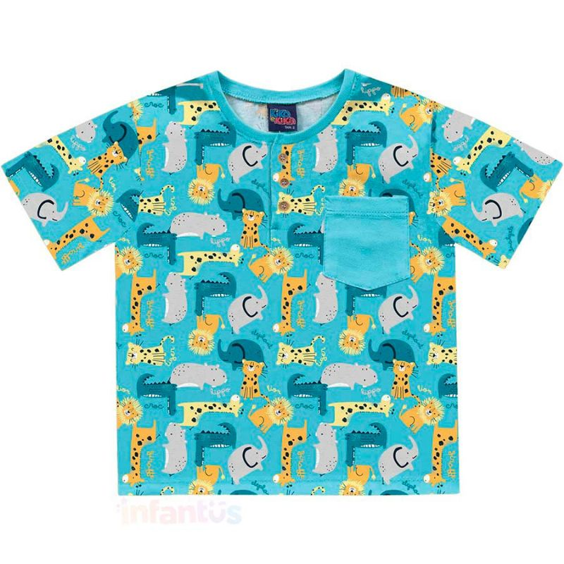 Camisa Safari Azul Claro - Kiko e Kika