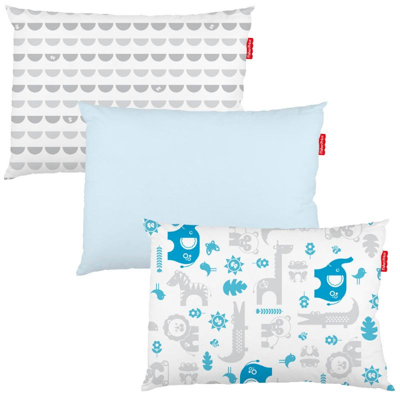 Fronha Kit com 3pç Bichinhos Estampada Azul 28x40cm - Fisher-Price