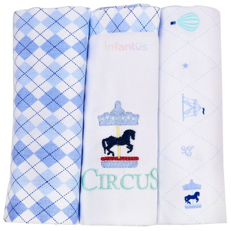 Kit Cueiro 3 Peças Azul - Circus Loupiot