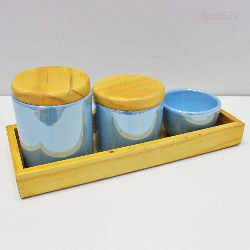 Kit Higiene Perolizado Azul Claro Pinus 4 Peças