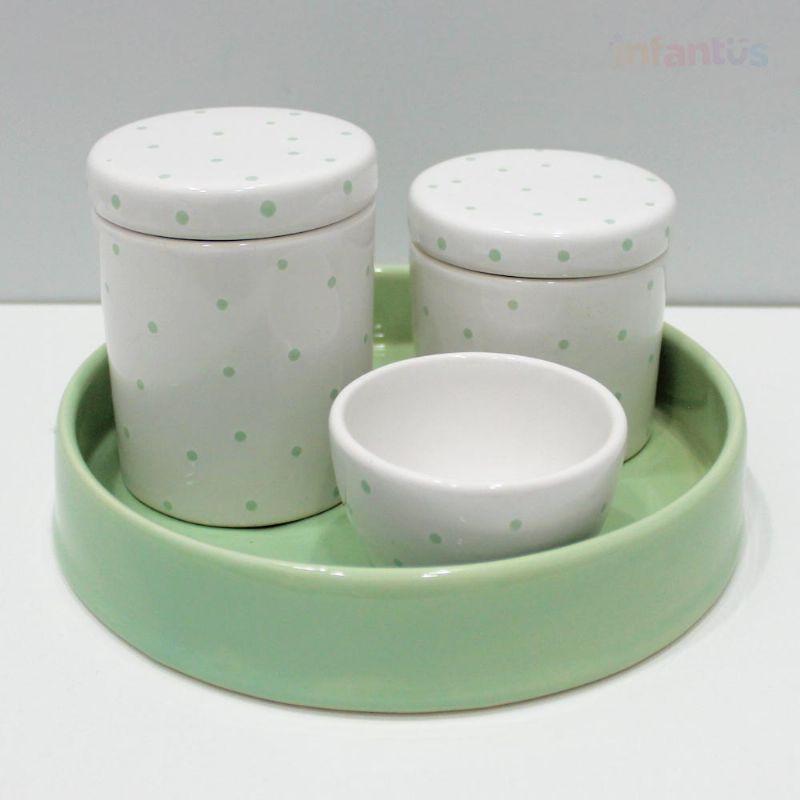Kit Higiene Poa Redondo Verde Claro com Branco 4 Peças
