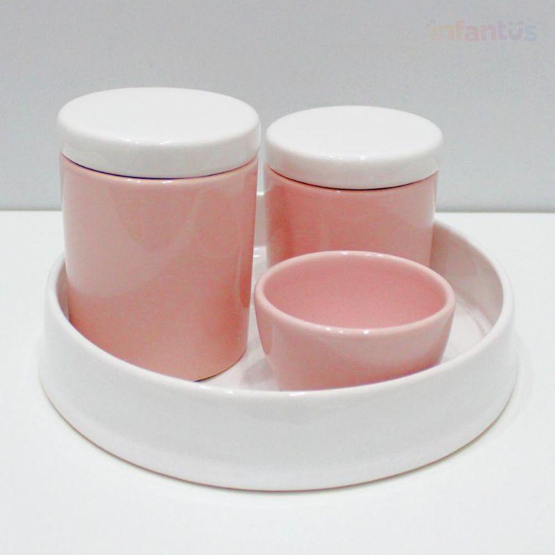 Kit Higiene Redonda Branco com Rosa Claro 4 Peças