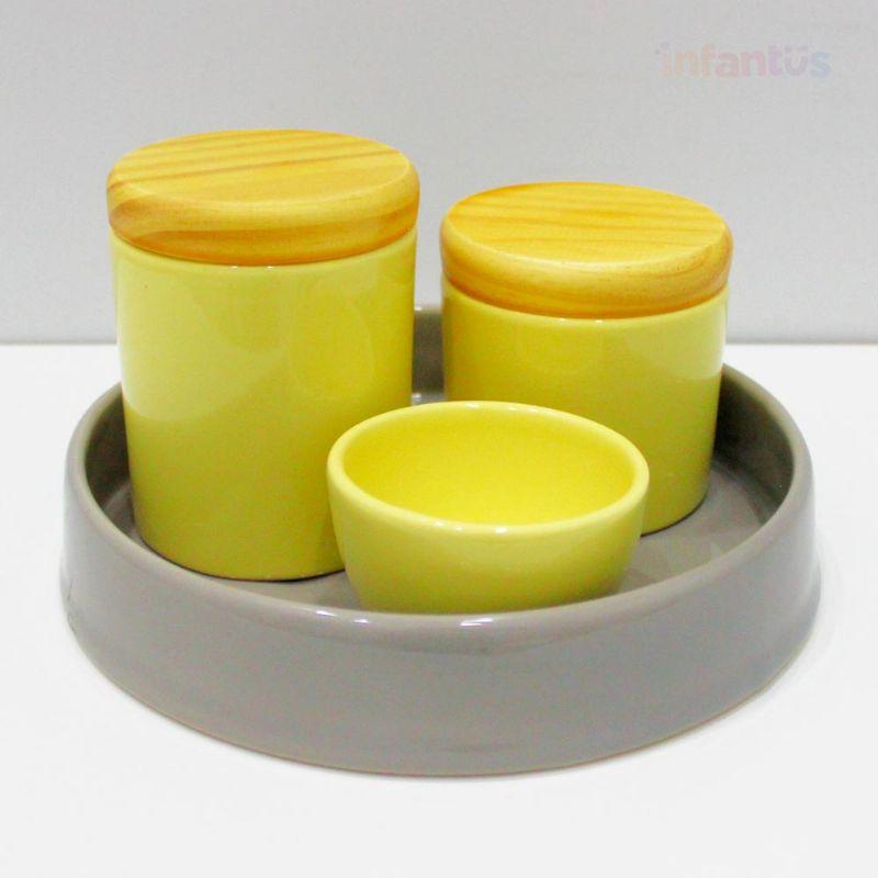 Kit Higiene Redonda Cinza com Amarelo Pinus 4 Peças