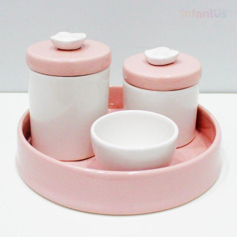 Kit Higiene Redonda Flor Rosa Claro com Branco 4 Peças