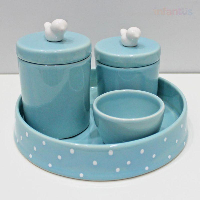 Kit Higiene Redonda Poa Pássaros Azul Velho 4 Peças