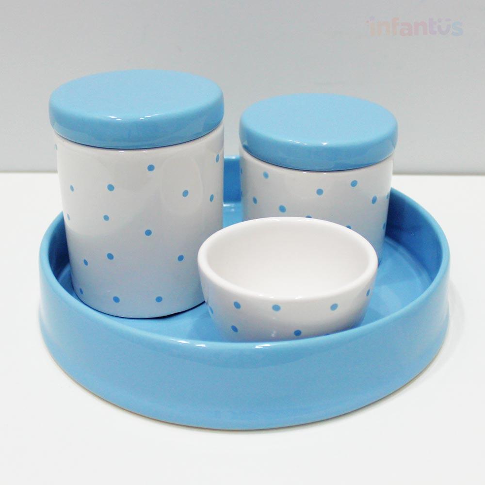 Kit Higiene Redonda Poa Azul Claro com Branco 4 Peças