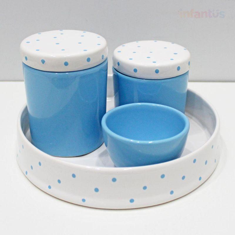 Kit Higiene Redonda Poa Branco com Azul Claro 4 Peças